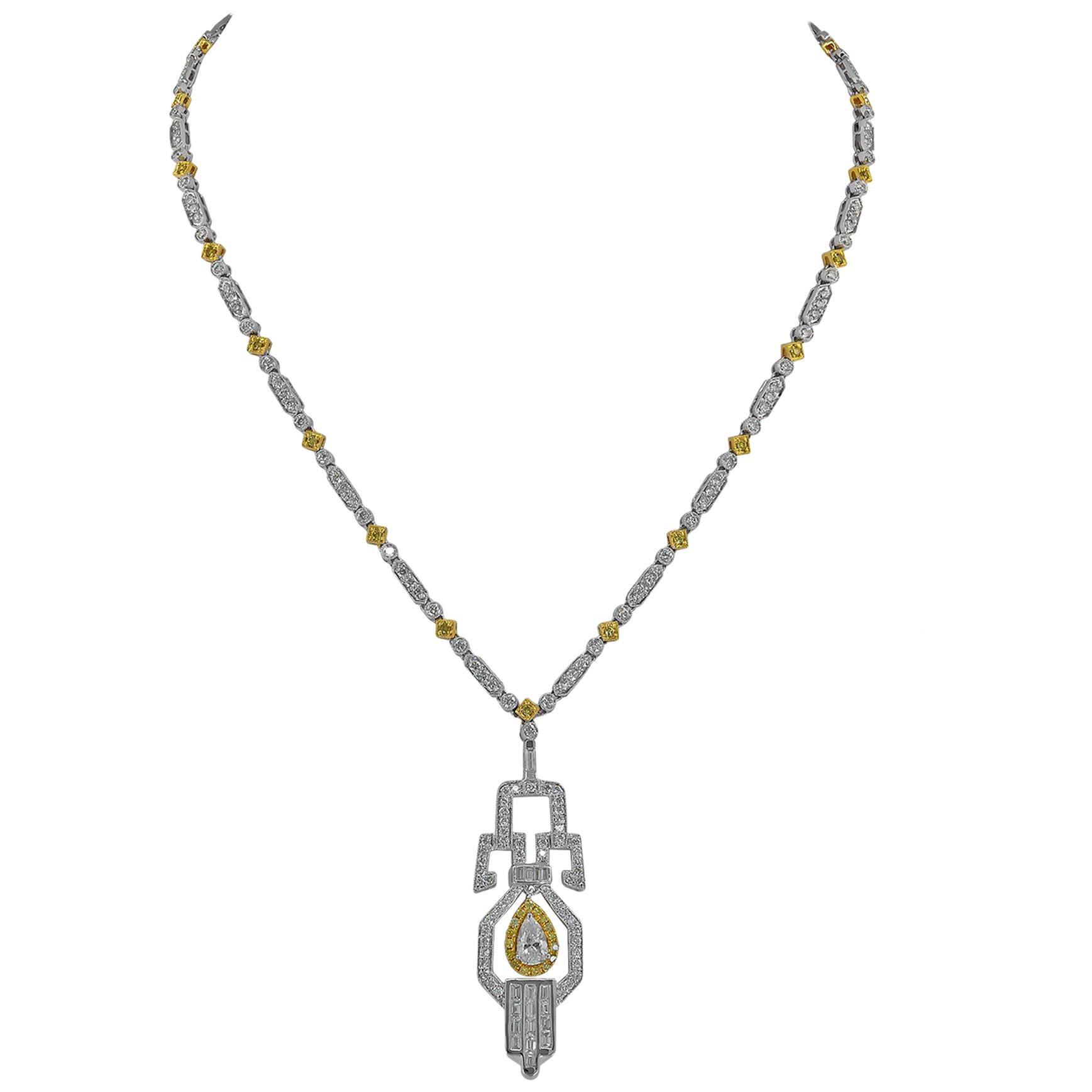 Diamond 18 Karat Two-Tone Gold Pendant Necklace