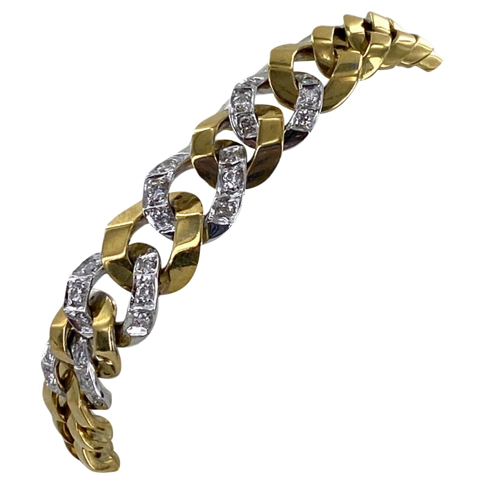 Diamond 18 Karat Two-Tone Gold Tapered Curb Link Vintage Bracelet
