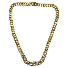 Diamond 18 Karat Two-Tone Gold Tapered Curb Link Vintage Necklace