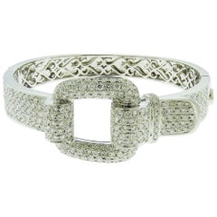 Diamond 18 Karat White Gold Buckle Bangle