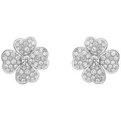 Diamond 18 Karat White Gold Cosmos Earrings by Van Cleef & Arpels