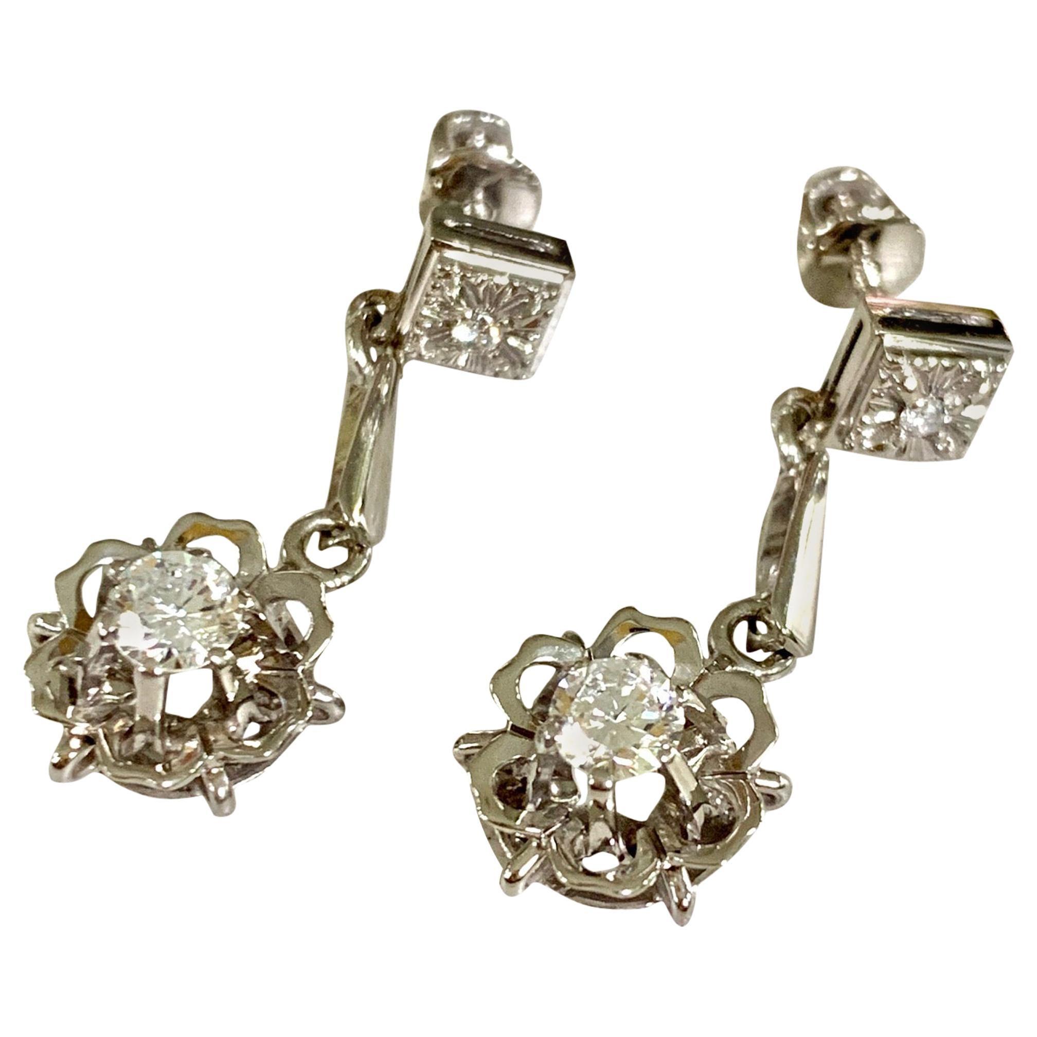 Diamond 18 Karat White Gold Dangle Screw Back Pierced Earrings