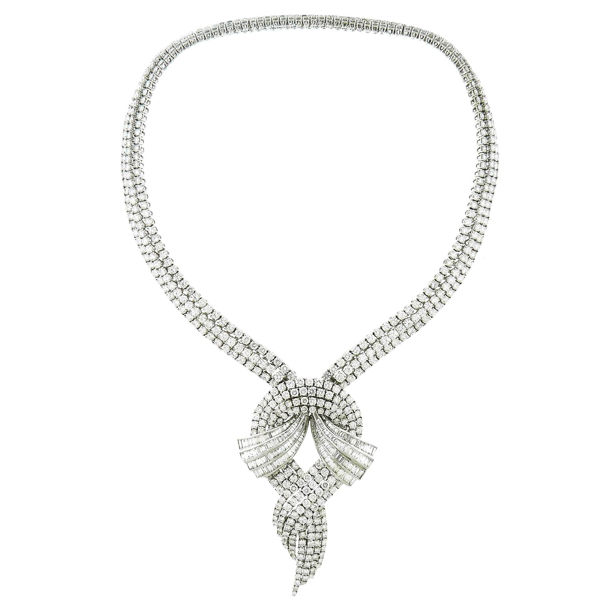 Diamond 18 Karat White Gold Detachable Pendant Necklace