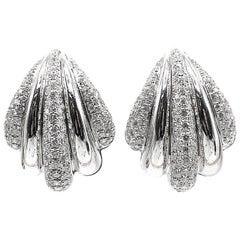 Diamond 18 Karat White Gold Ear-Clips
