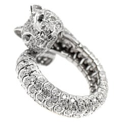 Diamond 18 Karat White Gold Flexible Jaguar Cat Ring