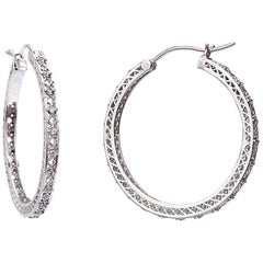 Yemyungji Diamond 18 Karat White Gold Hoop Earrings
