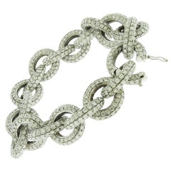 Diamond 18 Karat White Gold Link Bracelet