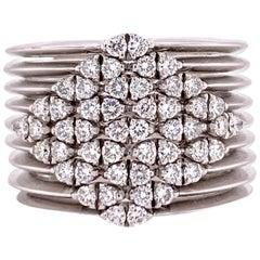 Diamond 18 Karat White Gold Ribbed Wide Band Ring Modern