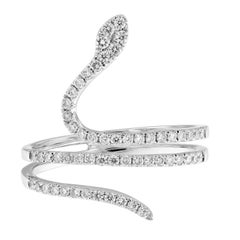 Diamond 18 Karat White Gold Serpent Ring