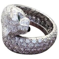 Cartier Diamond 18 Karat White Gold Single Head Panthere Ring