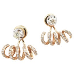 Diamond 18 Karat White Gold Studs and Twirl Diamond 18 Karat Rose Gold Jackets
