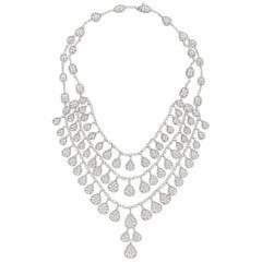 Diamond 18 Karat White Gold Three-Tier Necklace