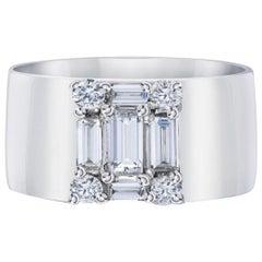 Diamond 18 Karat Wide Cigar Band Style Ring