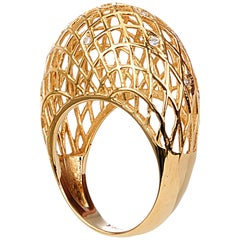 Yemyungji Diamond 18 Karat Yellow Gold Blooming Dome Ring