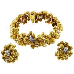 Cartier Diamond 18 Karat Yellow Gold Bracelet and Earrings Set