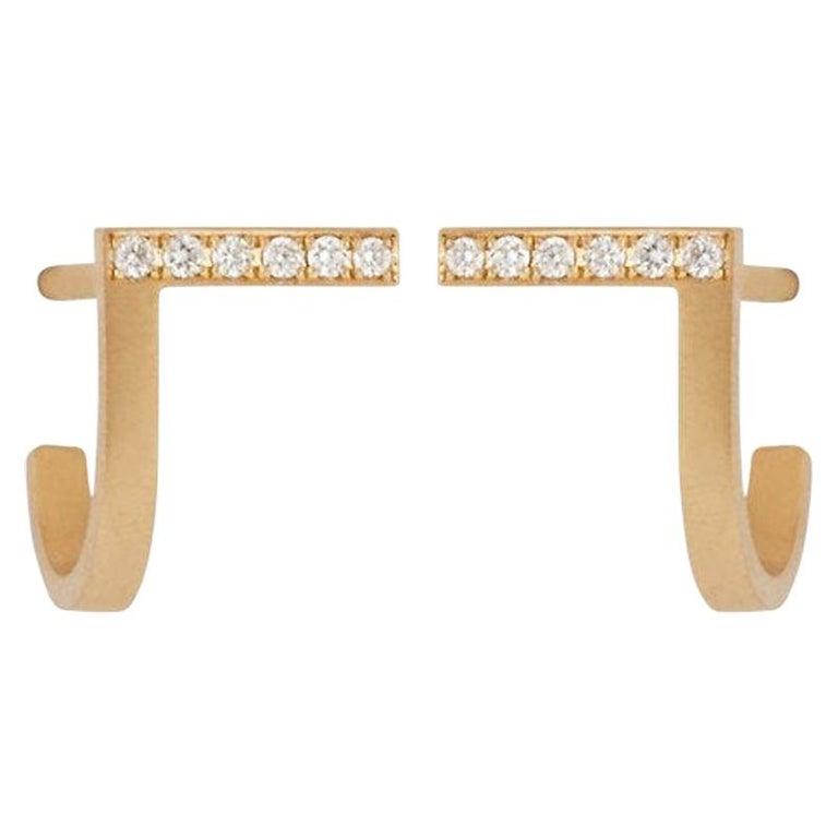 Diamond 18-Karat Yellow Gold Curve Earrings For Sale