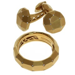 Diamond 18 Karat Yellow Gold Geometry Cufflinks and Ring Suite