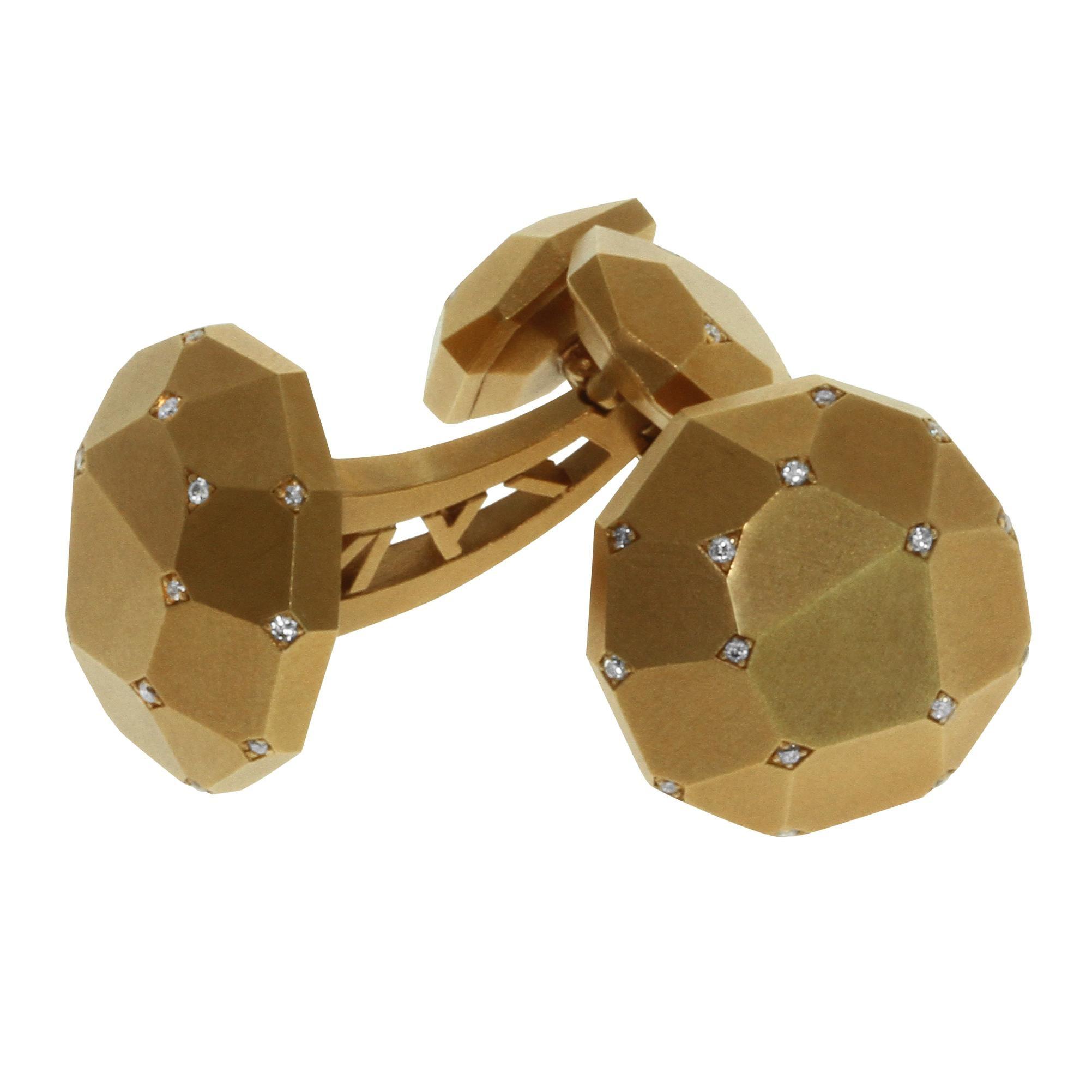Diamond 18 Karat Yellow Gold Geometry Cufflinks