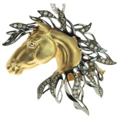 Diamond 18 Karat Yellow Gold Horse Head Brooch