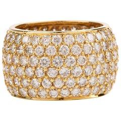 Diamond 18 Karat Yellow Gold Pave Wide Eternity Band Ring
