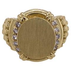 Diamond 18 Karat Yellow Gold Signet Ring