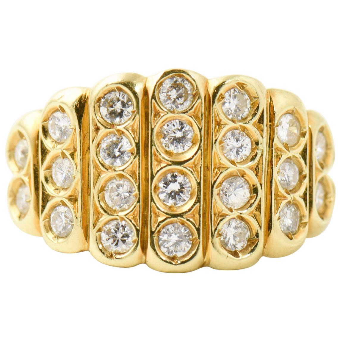 Diamond 18 Karat Yellow Gold Statement Ring
