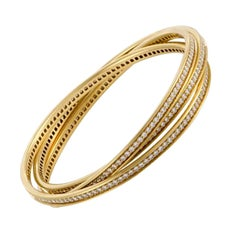 Diamond 18 Karat Yellow Gold Trinity Rolling Bracelet by Cartier