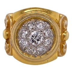 Diamond 18 Karat Yellow Gold Vintage Etruscan Style Vintage Ring