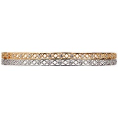 Yemyungji Diamond 18 Karat Yellow Gold White Gold Bangle Bracelet Set