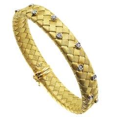 Diamond 18 Karat Yellow Gold Woven Flexible Italian Bangle Bracelet