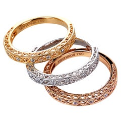Yemyungji Diamond 18 Karat Yellow White Rose Gold Eternity Ring Layering Set