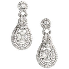 Diamond 1.85 Carat Gold Drop Earrings