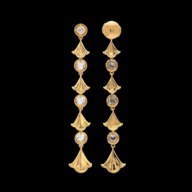 Women's Diamond and 18 Karat Gold Pendant Earrings by Marina B. For Sale