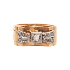 Diamond 18K Gold Platinum Bow Tank Ring