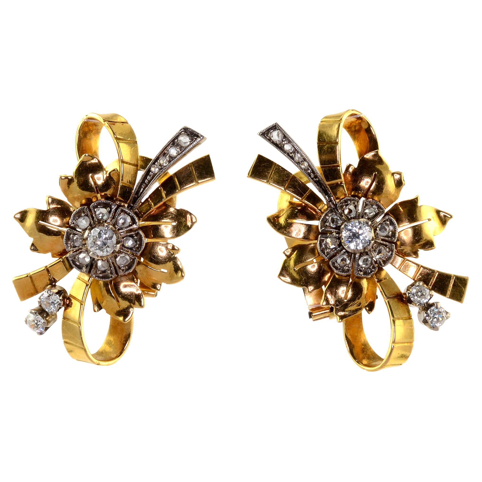 Diamond 18k Gold Retro Clip Earrings