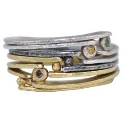 Diamond 18K Gold Sterling Silver Fashion Band Unisex Ring for Men Women Stack#22