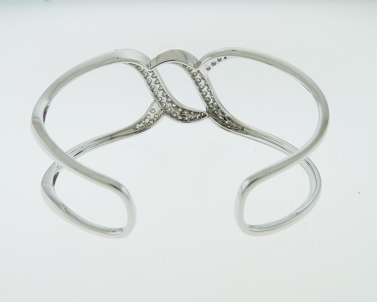 Modern Diamond 18 Karat White Gold Bangle For Sale