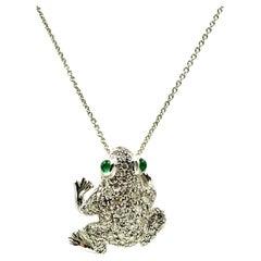 Diamond 18K White Gold Frog Brooch, Pendant with Cabochon Emerald Eyes, Talisman