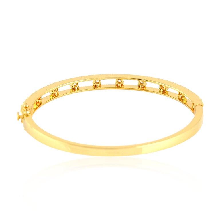 Modern Diamond 18 Karat Yellow Gold Bangle For Sale