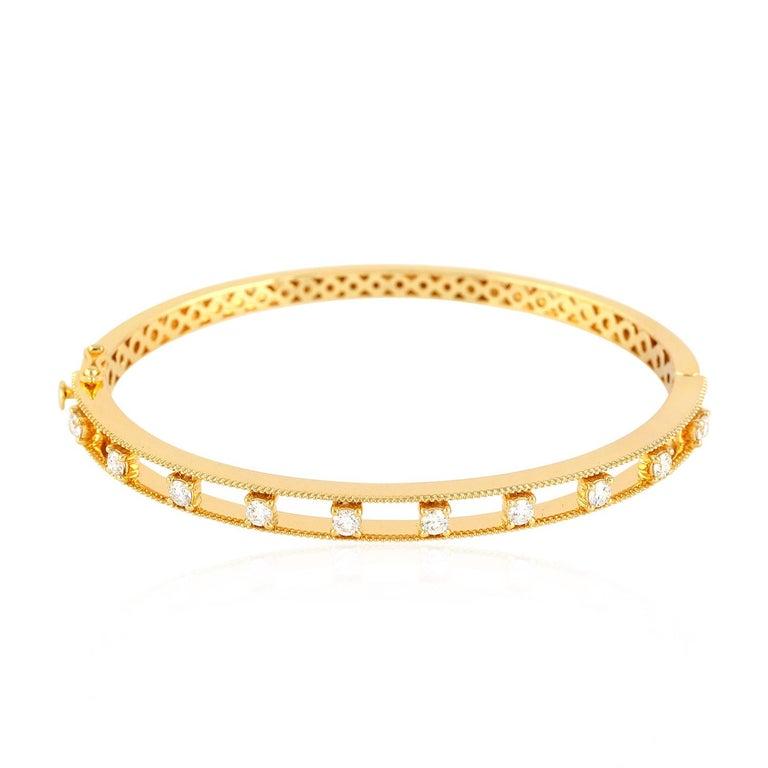 Diamond 18 Karat Yellow Gold Bangle For Sale