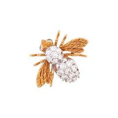 Diamond 18k Yellow Gold Bee Brooch