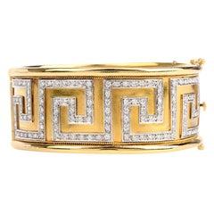 Diamond 18 Karat Yellow White Gold Greek Pattern Cuff Bracelet