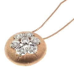 Diamond & 18Kt Rose Gold Pendant Necklace, Handmade in Florence, Italy