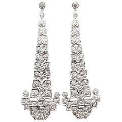 Diamond 2.14 Carat Earrings Set in 18 Karat White Gold Settings