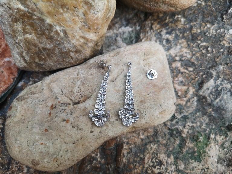 Women's Diamond 2.14 Carat Earrings Set in 18 Karat White Gold Settings For Sale
