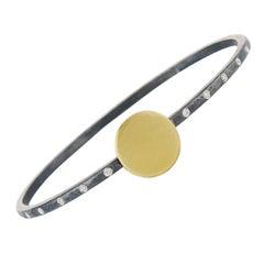 Diamond, Gold Round Disk, Oxidized Sterling Silver Mixed Metal Bangle Bracelet