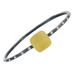 Diamonds, Gold Square, Oxidized Sterling Silver Square Bangle Bracelet