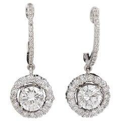 Diamond 2.24 Carat Total Weight Halo Dangle Earrings