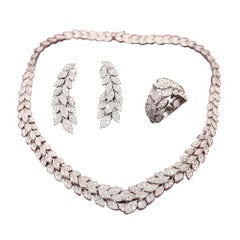 Diamond 3 Peice Set Necklace Earring and Ring 18 Karat White Gold