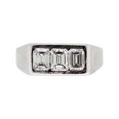Diamond 3-Stone Emerald-Cut Gold Ring
